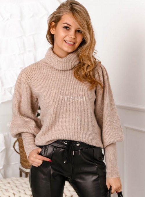 Beżowy sweter typu golf z bufiastymi rękawami - Meggi