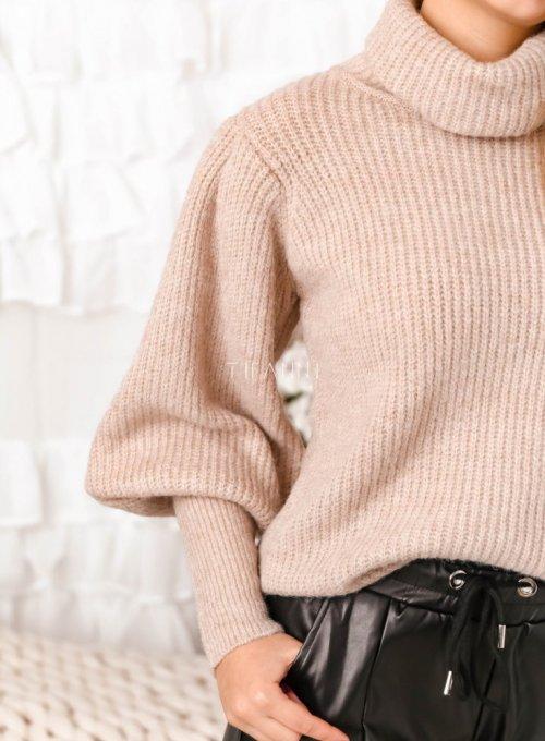 Beżowy sweter typu golf z bufiastymi rękawami - Meggi 3