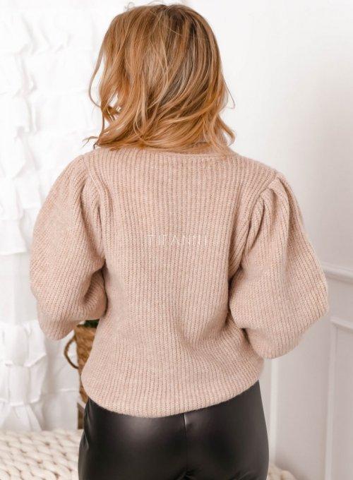 Beżowy sweter typu golf z bufiastymi rękawami - Meggi 4