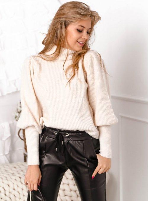 Kremowy sweter typu golf z bufiastymi rękawami - Meggi