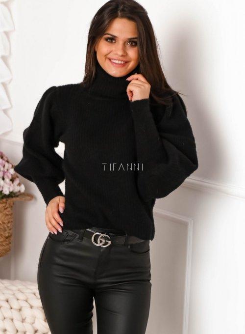 Czarny sweter typu golf z bufiastymi rękawami - Meggi