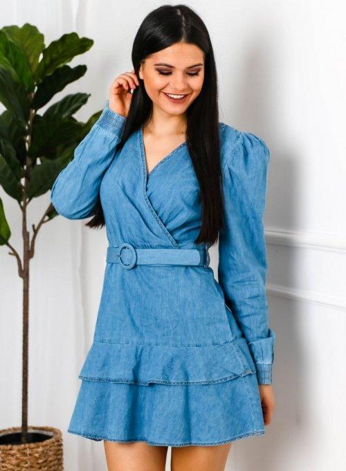 Sukienka Jeansowa z bufkami