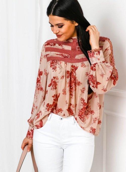Szyfonowa bluzka ze stójką w kwiatowy print w kolorze pudrowego różu - Flow