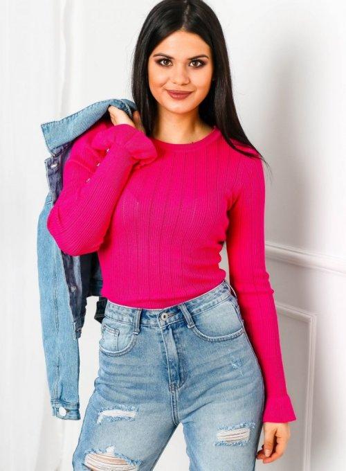Amarantowy sweter z ażurowymi zdobieniami - Dori