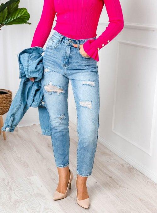 Spodnie Mom Jeans z dziurami i przetarciami
