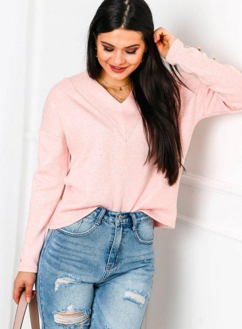 Sweter w kolorze pudrowego różu - Oxi