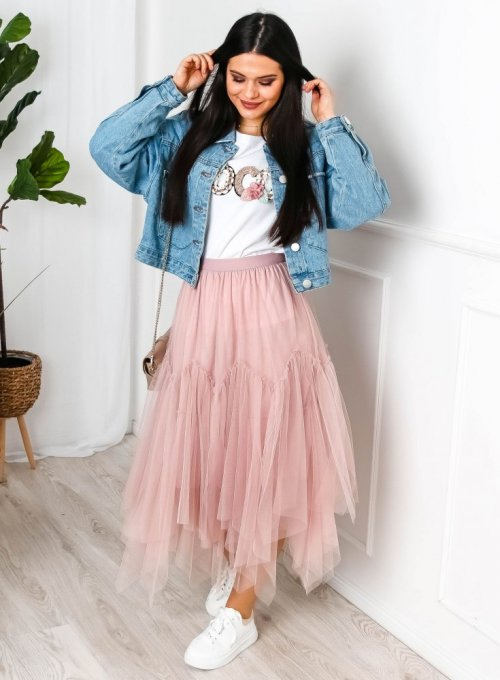 Spódnica tiulowa w kolorze pudrowego różu - Rafi