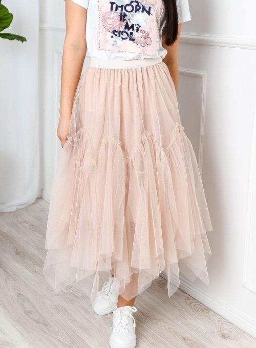 Beżowa spódnica tiulowa - Rafi
