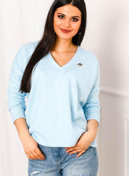 Błękitny sweter z dekoltem w serek - Ailis