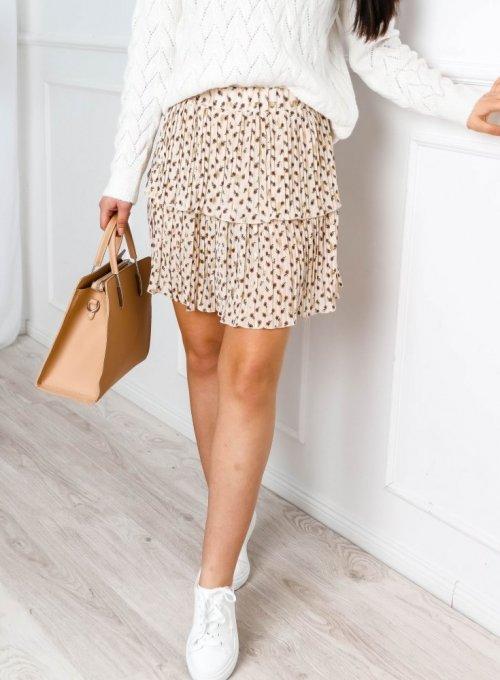Beżowa zwiewna spódnica z falbanką w kwiatowy print - Neva