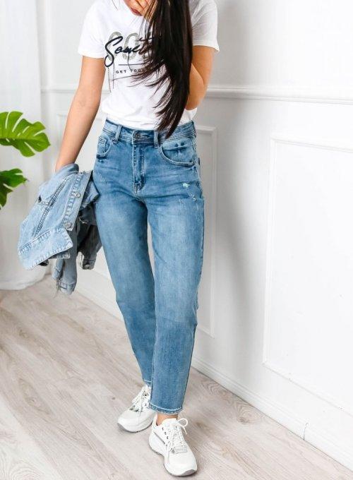 Niebieskie spodnie Mom jeans