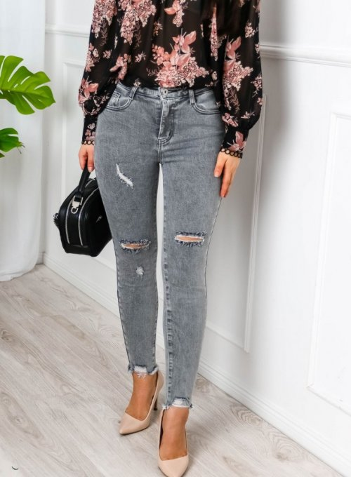Szare spodnie jeansowe z przetarciami i dziurami- Sparks