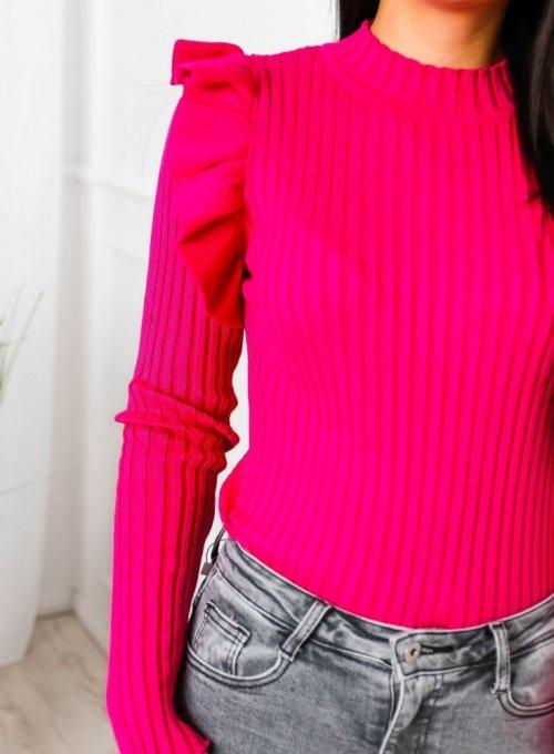 Amarantowy sweter typu pólgolf - Sarin 5