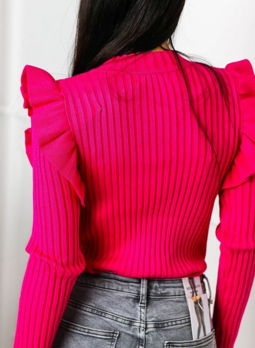 Amarantowy sweter typu pólgolf - Sarin 6