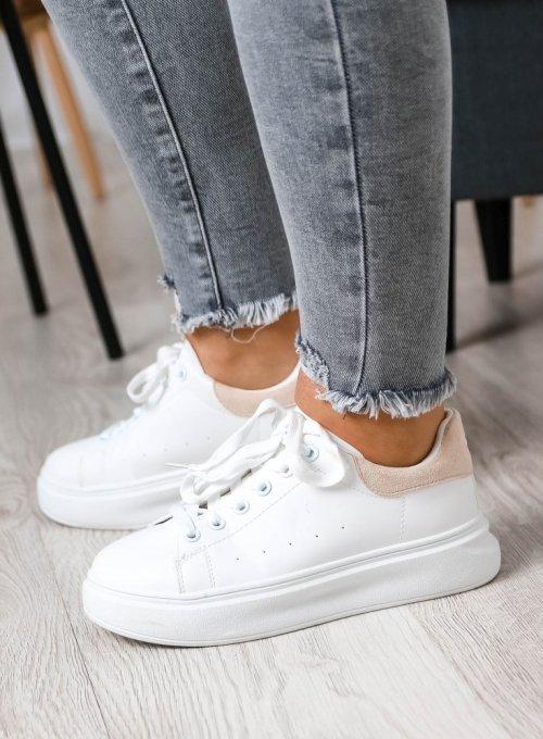 Białe adidasy z beżowym zdobieniem