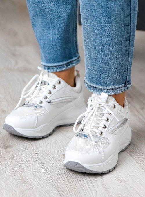 Białe adidasy ze srebrnymi zdobieniami 3