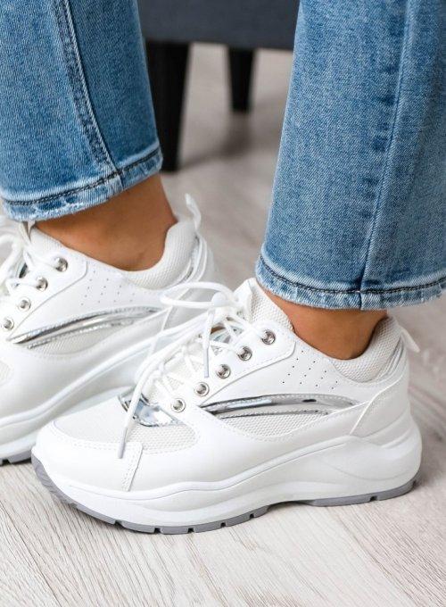 Białe adidasy ze srebrnymi zdobieniami 4