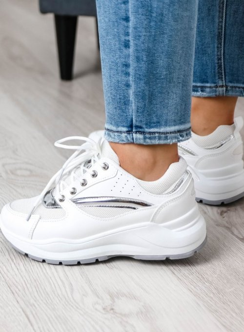 Białe adidasy ze srebrnymi zdobieniami 5
