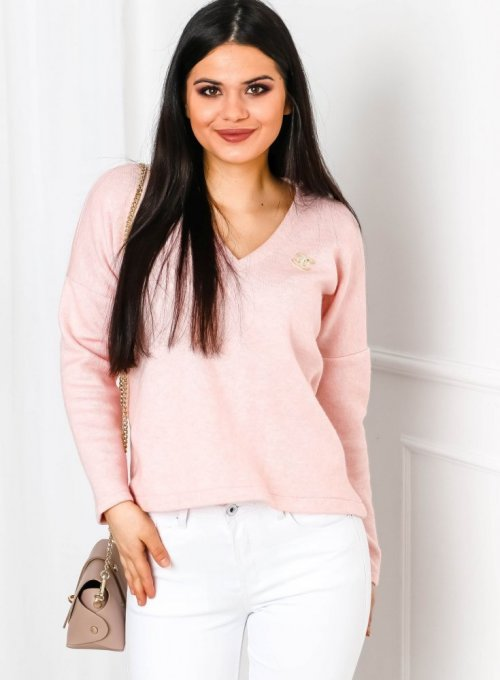 Sweter z dekoltem w serek w kolorze pudrowego różu - Ailis