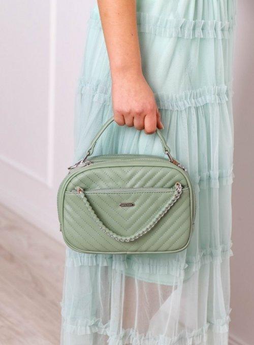 Miętowa torebka pikowana z łańcuszkiem - David Jones 5