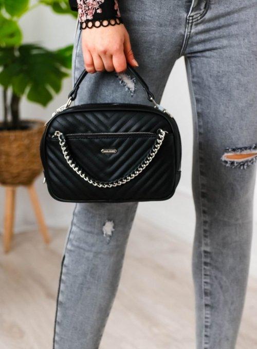 Czarna torebka pikowana z łańcuszkiem - David Jones
