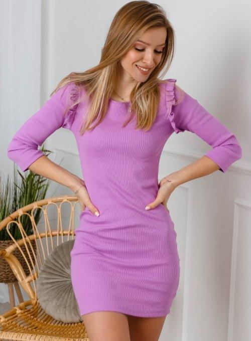 Liliowa sukienka typu basic z falbankami na ramionach