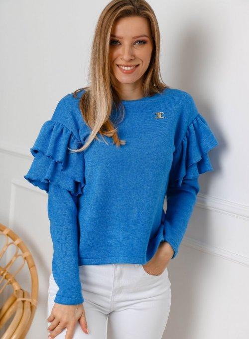 Sweter Lara w kolorze kobaltowym z falbankami na rękawach