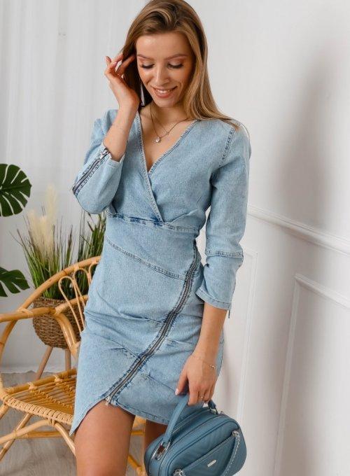 Asymetryczna sukienka denimowa z zamkami - Zoja