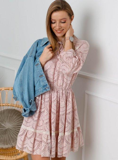 Sukienka koronkowa w kolorze pudrowego różu - Margaret