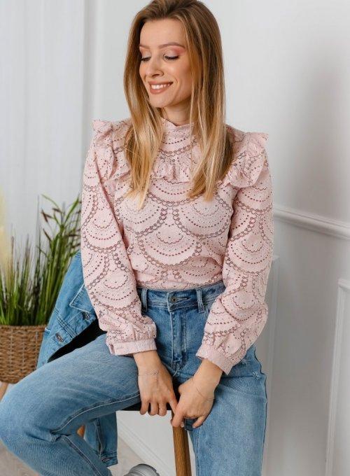 Koronkowa bluzka Zini w kolorze pudrowego różu