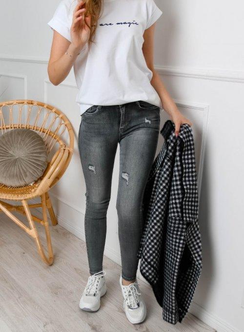 Spodnie jeans Szare