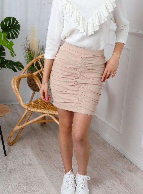 Beżowa spódnica z efektownymi marszczeniami