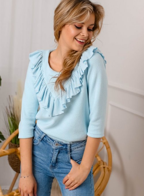 Błękitny sweter z falbanką - Carlen