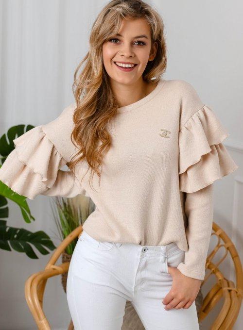 Beżowy sweter Lara z falbankami na rękawach