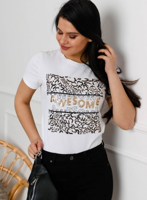 T-shirt Awesome Biały