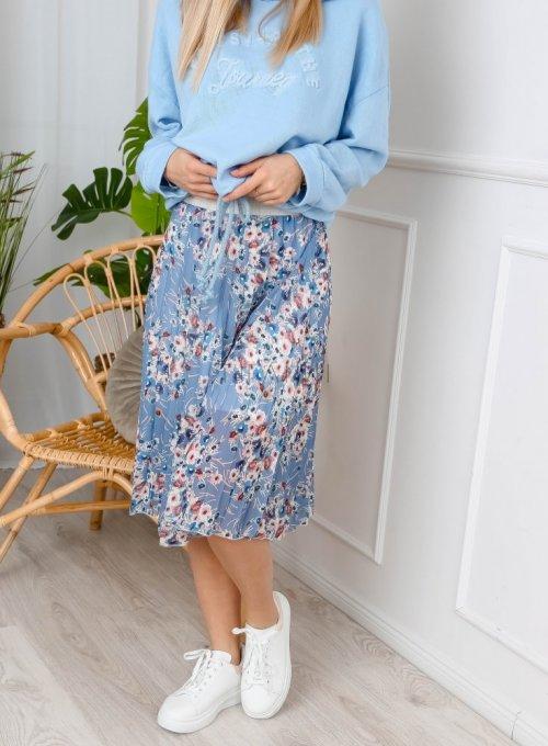 Spódnica plisowana błękitna w kwiaty - MILA