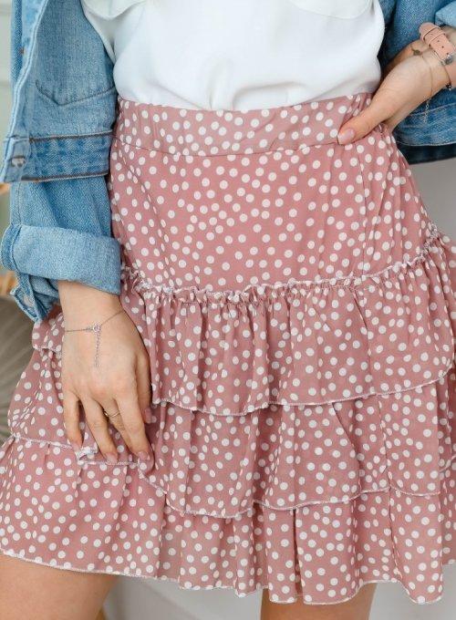 Spódnica szyfonowa z falbankami w kolorze pudrowego różu - ROXI