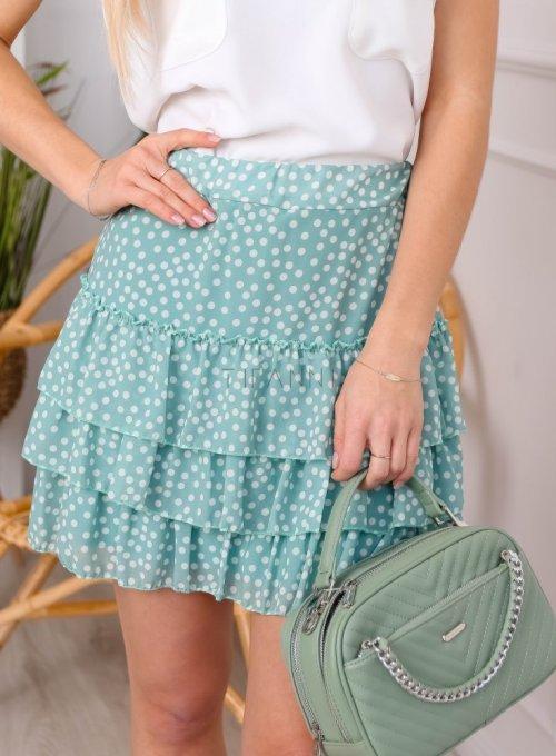 Miętowa spódnica szyfonowa z falbankami - ROXI