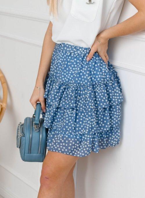 Niebieska spódnica szyfonowa z falbankami - ROXI