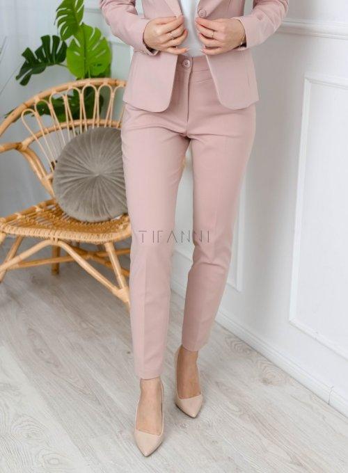 Spodnie cygaretki w kolorze pudrowego różu - EDITH