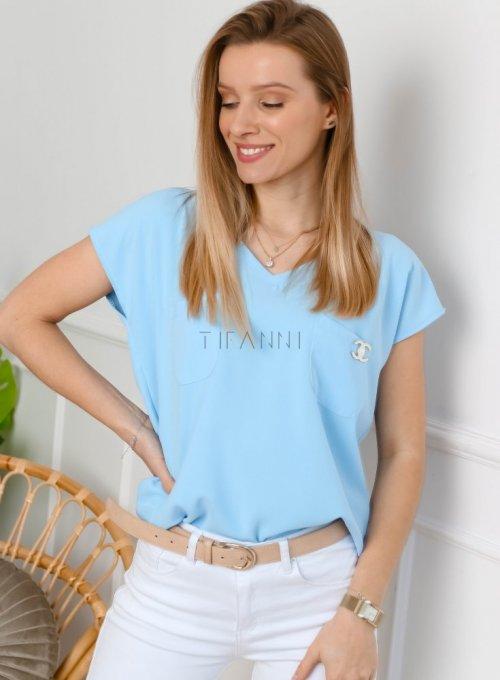 Błękitna bluzka z dekoltem w serek - ROXI