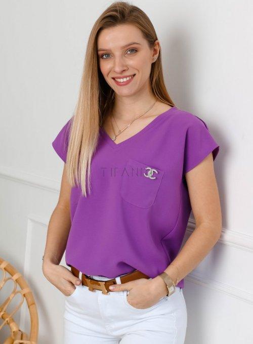 Fioletowa bluzka z dekoltem w serek - ROXI