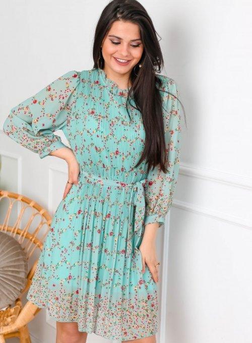 Miętowa szyfonowa sukienka plisowana w kwiaty - TATI