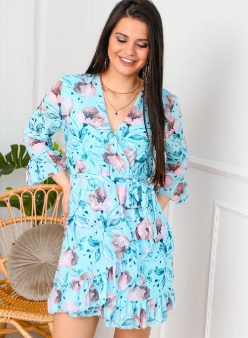 Błękitna sukienka szyfonowa w kwiaty - PATI
