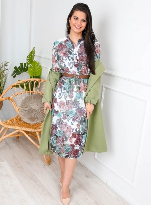 Sukienka szyfonowa w kwiaty midi - MILO