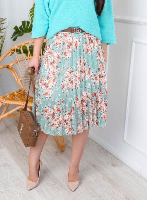 Spódnica plisowana w kwiaty midi - MIA