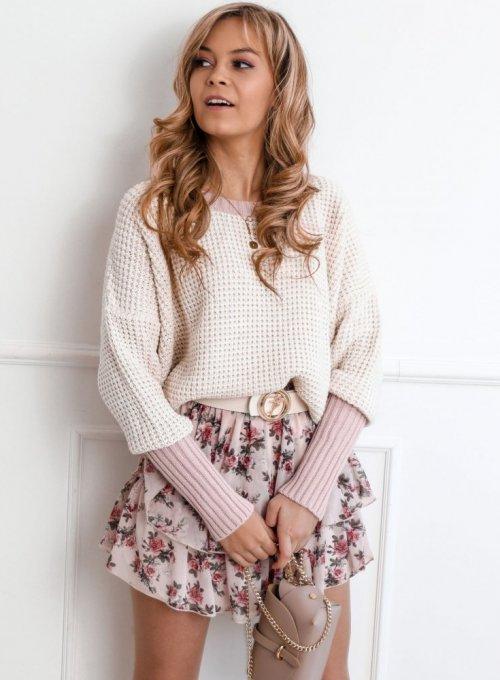 Sweter Zaxi kremowo- pudrowy