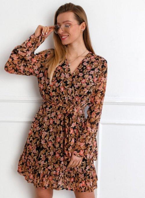 Czarna szyfonowa sukienka w kwiaty - Lisa