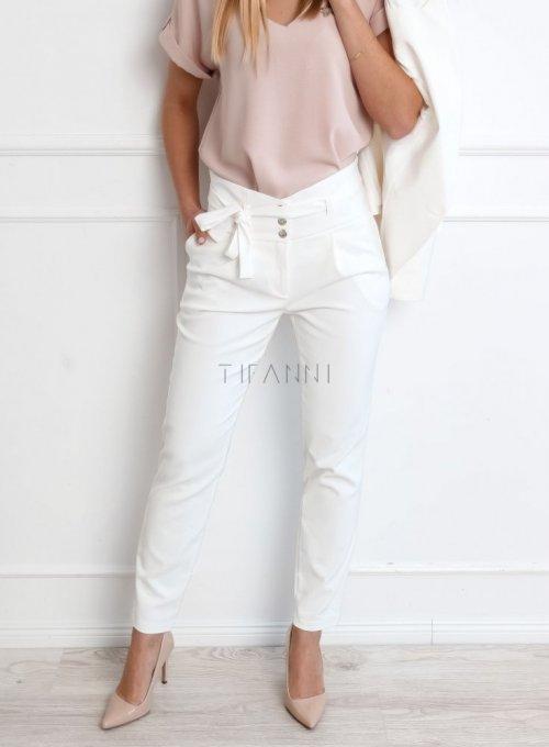 Spodnie cygaretki w kolorze śmietanowym - JUDITH