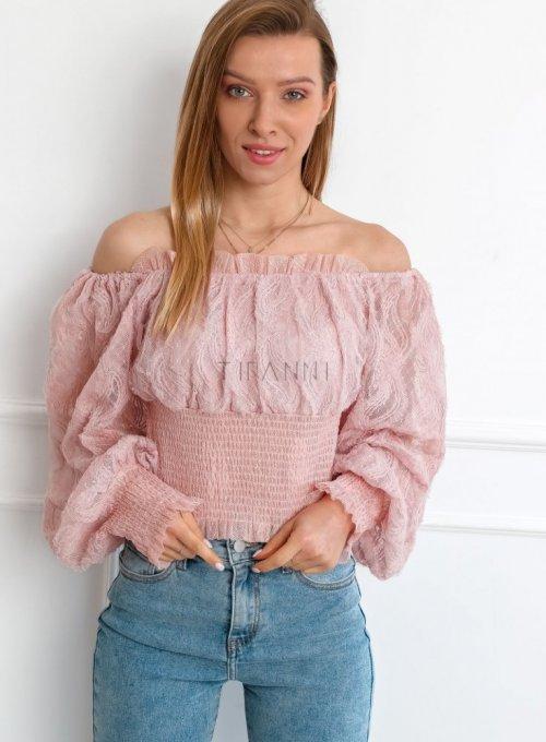 Bluzka typu hiszpanka w kolorze pudrowego różu